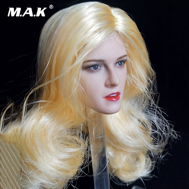 1/6 Scale Blond Curls Hair Kristen Stewart Female Head Scuplt Carved with Blue Eyes for 12 Figure Bodies