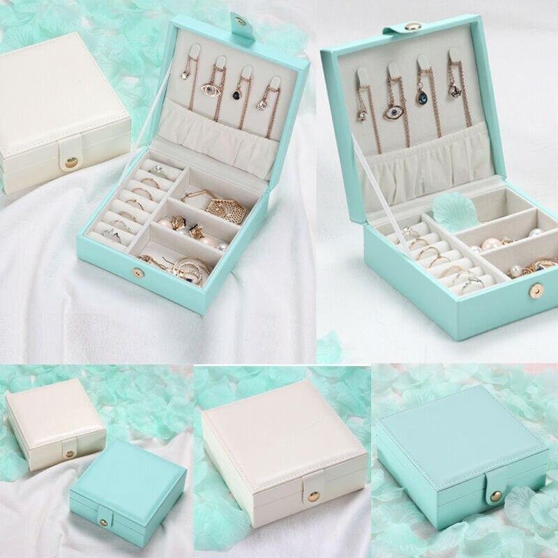 NoEnName Portable Travel PU Jewelry Box Storage Organizer Necklace Bracelet Earring Ornaments Case Holder Gift