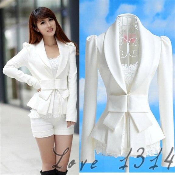 9208742b5ac65 Primavera chaqueta femenino chaqueta primavera chaquetas mujeres chaquetas  blanco manga larga OL blanco chaqueta arco Ultra Slim traje S XL 7337 en ...