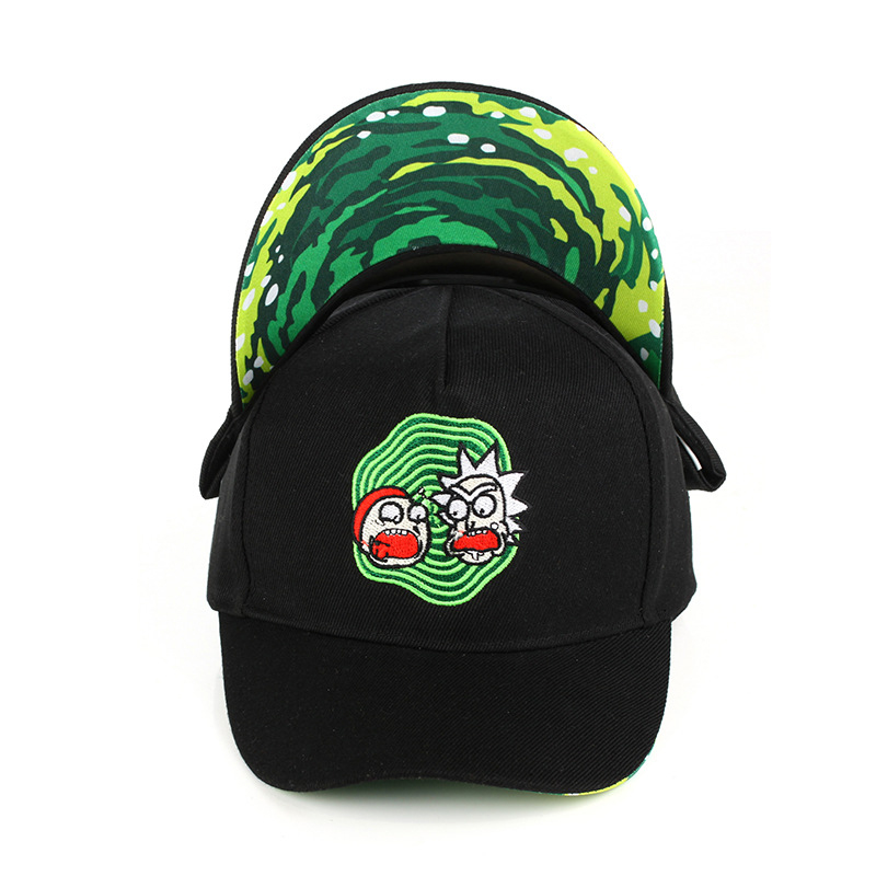 Rick and Morty New Black Dad Hat Crazy Rick Baseball Cap American Anime Cotton Embroidery Snapback Anime lovers Cap Men Women trendy cotton fedora hat cap black
