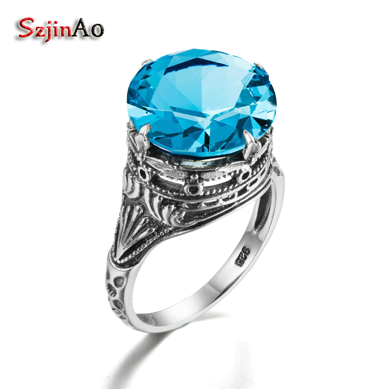Szjinao Fashion Impressive sky Blue Aquamarine Ring Real 925 Sterling Silver Jewelry Ancient Handmade Rings Wholesale