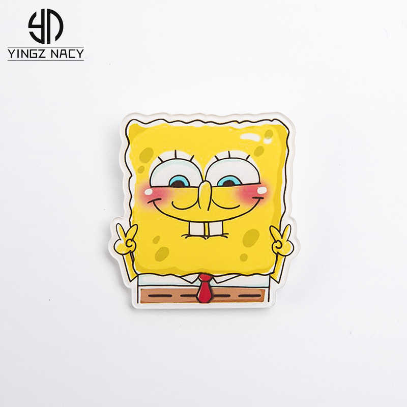 Cute Brooches For Women Lapel Pins Icon backpack Anime Cartoon SpongeBob SquarePants Badge Acrylic Denim Jackets Collar Jewelry