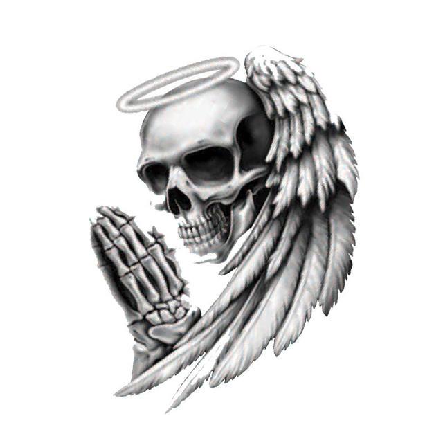 7CM ANGEL OF DEATH SKULL STICKERS