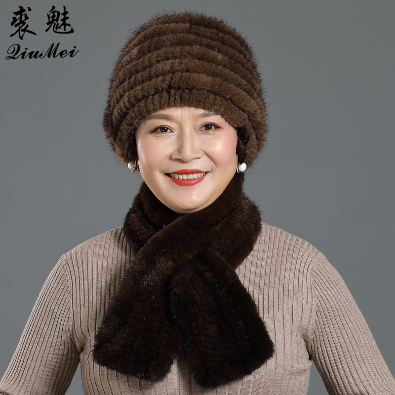 Three Flower Women Winter Knitted Genuine Mink Fur Cap Hats & Knitted Straight Scarves Outdoor Knitted Natural Fur Beanie Scarf