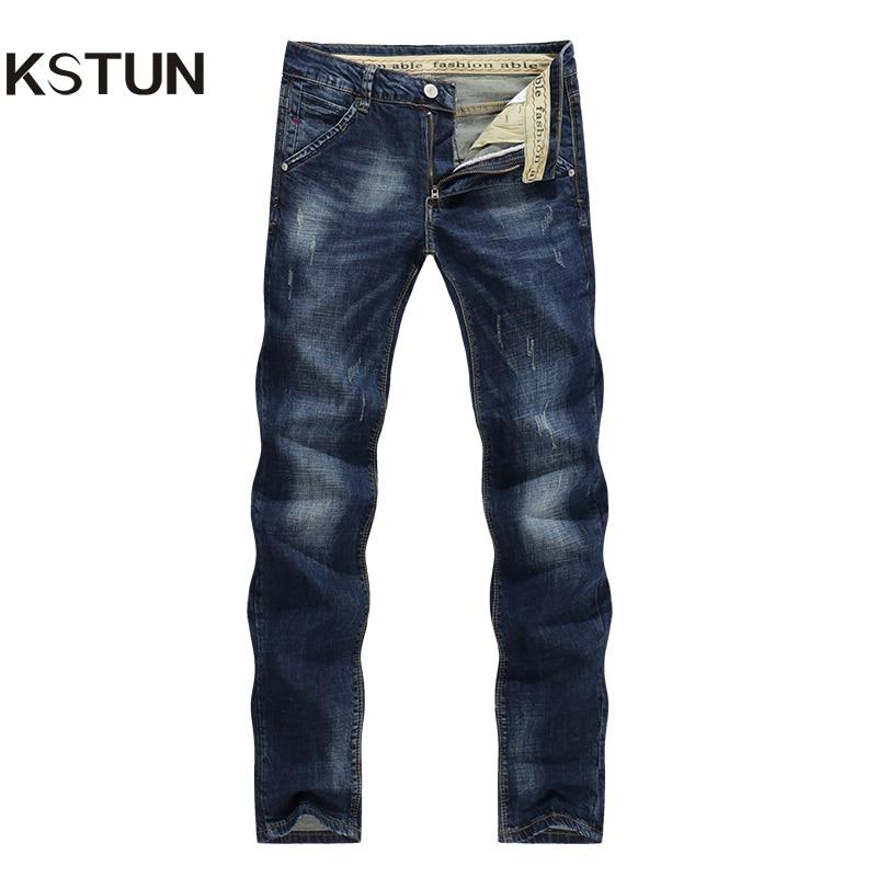 KSTUN Men's Jeans Autumn Winter Stretch Dark Blue Business Casual Denim Pants Slim Scratched Long Trousers Gentleman Cowboys 38