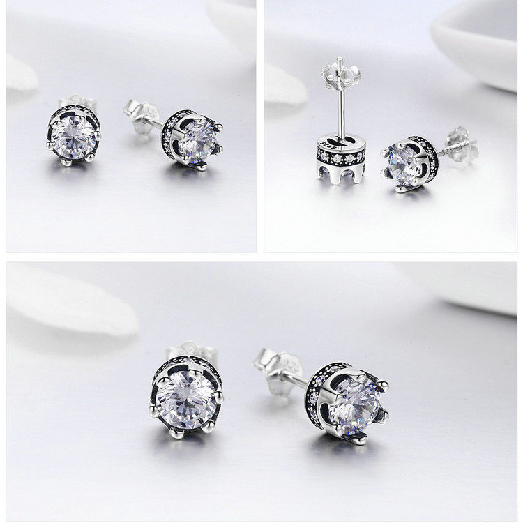 100% 925 Sterling Silver Princess Crown Luminous CZ Stud Earrings