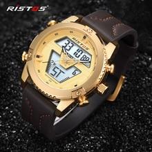 RISTOS мужские спортивные часы, аналоговые наручные часы, многофункциональные мужские часы с хронографом и кожаным ремешком, мужские часы 9368