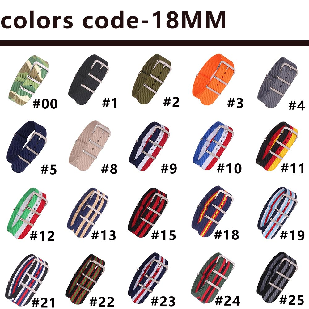 16 18 20 22 24mm Brand Army Sport nato fabric Nylon strap accessories Bands Buckle belt For 007 James bond Watch Bracelet black все цены