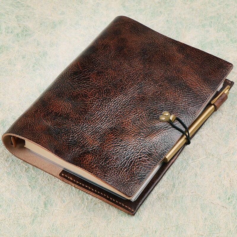 Qualité Vintage en cuir véritable cahier papier de luxe bloc-notes intérieur en cuir journal journal journal Agenda planificateur papeterie BJB54