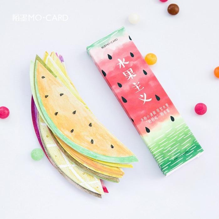 30Pcs/box Cute Fruits Irregular Shape Bookmarks Cartoon Gifts For Kids Kawaii Watermelon Bookmark School Office Supplies