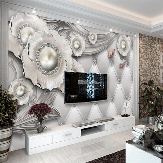 Us 93 38 Offbeibehang Tapety Mural Niestandardowy Salon Sypialnia Wysokiej Jakości Trójwymiarowy Biżuteria Kwiaty Europejskie Wzór Miękkie Mural W