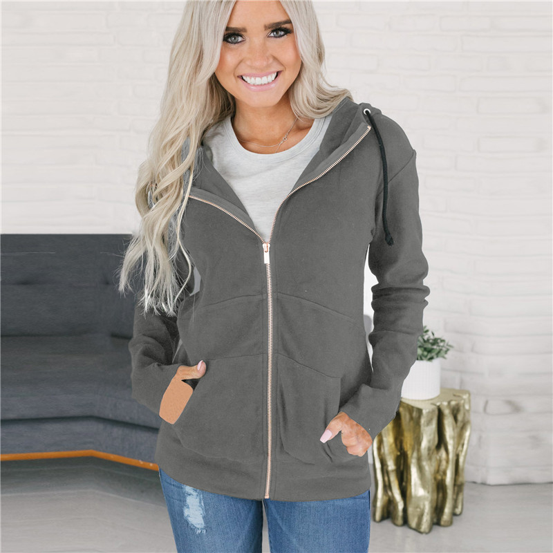 S 3XL women hoodies long sleeve zipper tops cardigan winter autumn spring casual leisure tops blouse in Hoodies amp Sweatshirts from Women 39 s Clothing