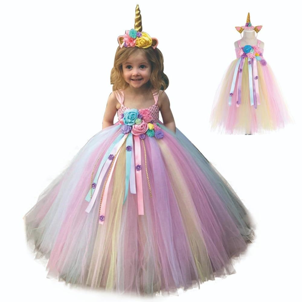 Girl Dresses Kids Long Unicorn Costume for Girls Ankle Length Sleeveless Flower Unicorn Party Dress Tutu Little Pony Ball Gown (1)