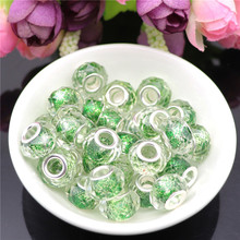 10Pcs Cut Faceted Glitter Powder 5mm Big Hole Crystal Glass Spacer Beads Charms fit for Pandora Bracelet Necklace Jewelry Making 10pcs hot cut faceted color crystal glass beads fit european bracelet spacer original pandora charm bracelet for jewelry making