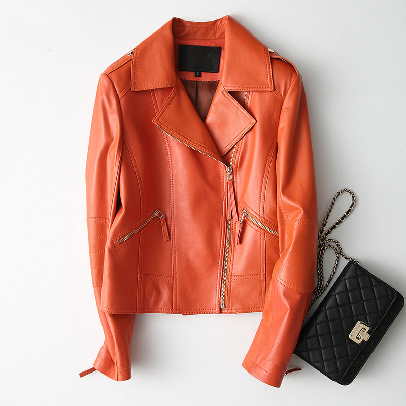 Notched collar zipper design natural sheepskin leather jacket women orange color motorcycle real leather coat 2018 autumn winter