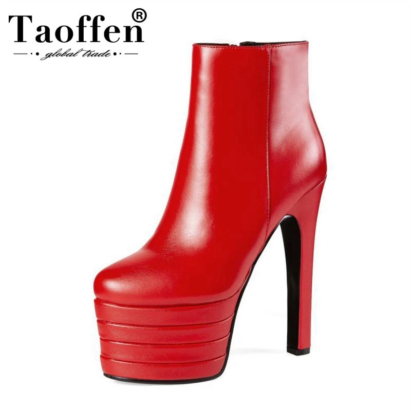 Taoffen New 2018 Winter Genuine Leather Sexy High Heels 15cm Round Toe Platform Red Black Ankle