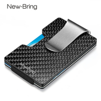 NewBring Minimalist Carbon Fiber Wallet RFID Blocking Card Holder Credit Card Case For Men Women Male Female Card Money Purse