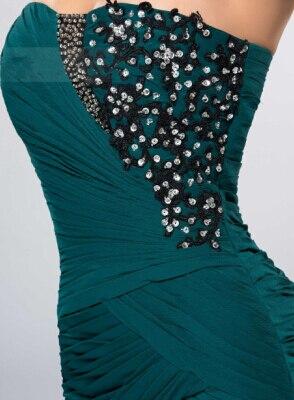 Ну вечеринку пром платья милая аппликации пайетки сплит-типа передней Ruched русалка длинное вечернее платье - Цвет: Зеленый