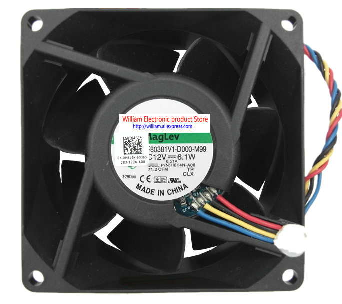 Original MF80381V1-D000-M99 DC12V 6.1W 80x80x38MM for Dell H814N-A00 2U server computer cooling fan