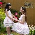 Nueva familia moda clothing verano bordado vestido de encaje rosa 2016 niños juego a juego vestidos de madre y daguther