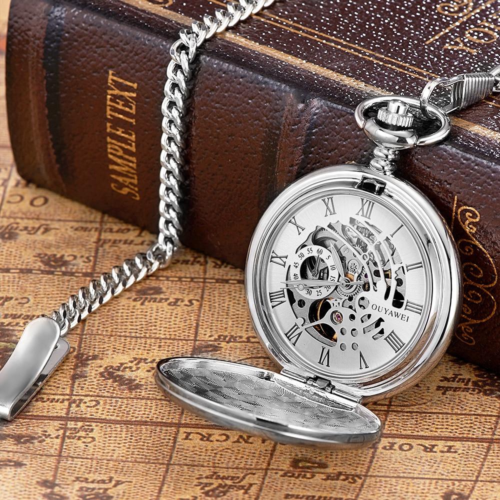 Fashion Luxury Brand Pocket Watches OYW Mechanical Hand Wind Watch Men Full Steel Chain Clock Man Pocket Fob Watch Orologio Uomo