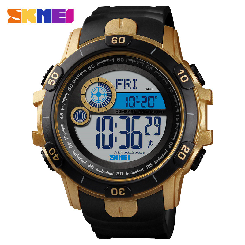 Mens Watches Digital SKEMEI Recording Real-Time Outdoor-Sport Waterproof Top-Brand Fashion