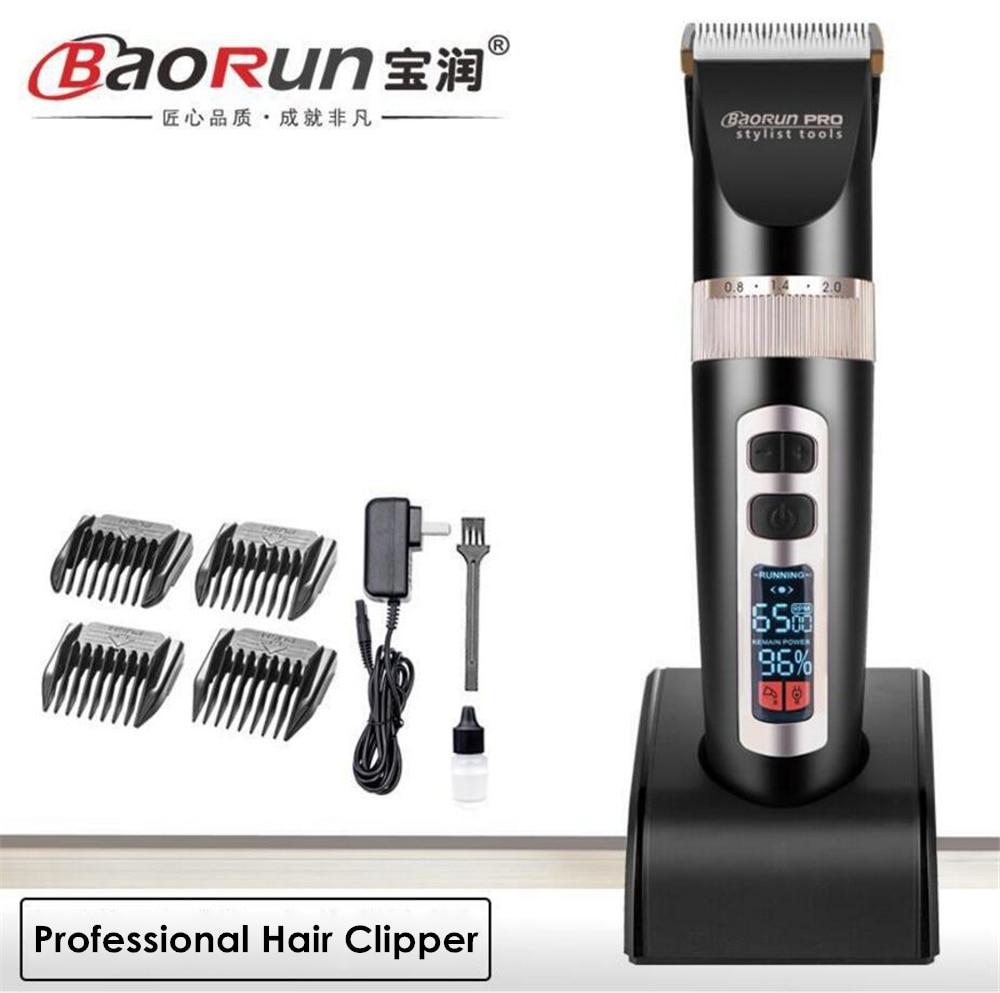 Professional Electric Hair Trimmer Beard Shaver Lithium 2000mA Rechargeable Hair Clipper Titanium Knife LCD Hair Cutting