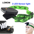 LOMOM 3 LED Clip-On Cap Sensor Light Lamp USB Headlamp for Cycling Camping Fishing Mounting Night Lights