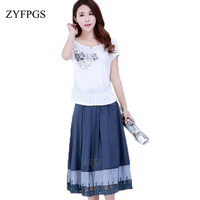 ZYFPGS 2019 Plus Size Embroidery Women Dress Cotton Linen Midi Office Work Ladies Dresses Vintage Set Beach Summer Vestidos ZMF8