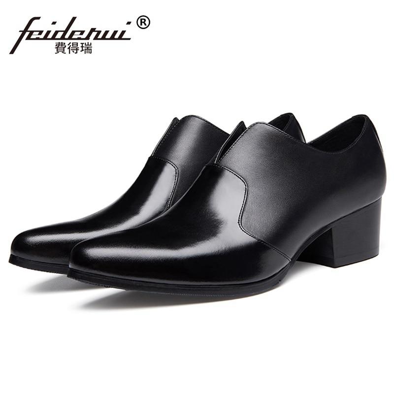 Nouveau Ss272 Mode En Chaussures Croissante Parti De Talons Verni Cuir Mocassins Haute Homme À Hauteur Pointu Bout Main Noir Hommes Occasionnels Appartements La rrwqC1
