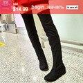 Alta botas de estiramento na coxa em sobre as botas do joelho plus size pacote altura crescente moda botas flat de alta qualidade