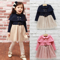 2017 New Style Toddler Kids Baby Girls Shawl Dress Cotton Lapel Tops Gauze Tutu Princess Dresses  X5