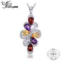 JewelryPalace 6ct Amethysts Garnets Citrines Green Amethysts Pendant 925 Sterling Silver 2018 Hot Salling Not Include
