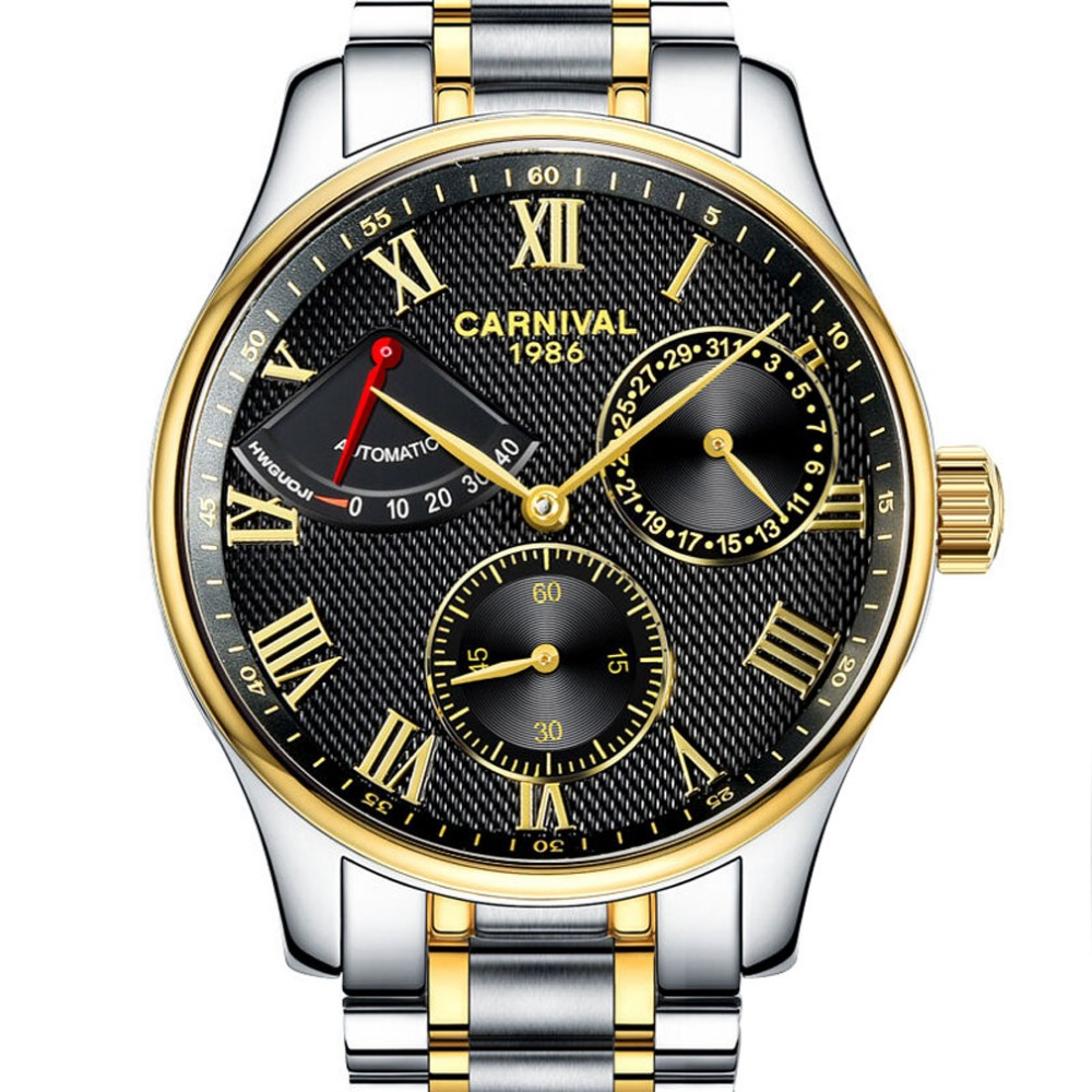 Carvinal Mens Business Multifunction Steel Watchband Automatic Self-Wind Mechanical Watch Wristwatch - gold bezel black dial women favorite extravagant gold plated full steel wristwatch skeleton automatic mechanical self wind watch waterproof nw518