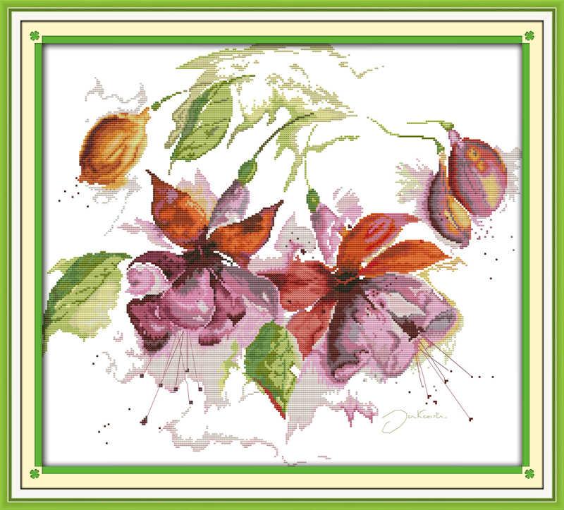 Wspaniały lily zestaw do haftu kwiat 14ct drukowane tkaniny płótno szwy haft DIY handmade robótki