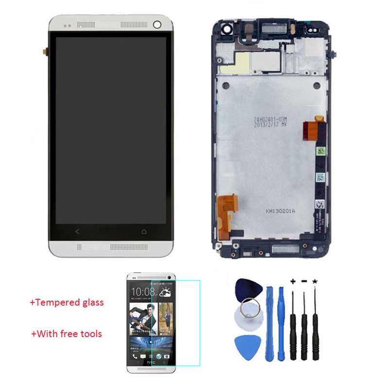 New 100% Test LCD Touch Screen Glass Digitizer Frame + Back Cover Housing Red For HTC One M7 Silver With Tempered Glass + Tools high quality silver for htc one m7 lcd display touch digitizer screen frame back door battery cover case housing