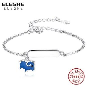 e4526b61ade6 ELESHE personalizado de los niños 925 pulsera de plata esterlina Simple  azul esmalte ovejas grabado nombre encantos pulsera para niños