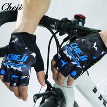 CHEJI Cycling Gloves Men Pro team Bicycle Racing Half Finger Gloves anti-knock Mtb road Bike Gloves Outdoor Sports Gloves