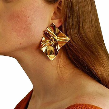 KISSWIFE Punk Exaggerate Gold Color Metal Earring Women Ladies Irregular Geometric A Direct Sale Earrings Metal.jpg 350x350 - KISSWIFE Punk Exaggerate Gold Color Metal Earring Women Ladies Irregular Geometric A Direct Sale Earrings Metal Piercing Earring