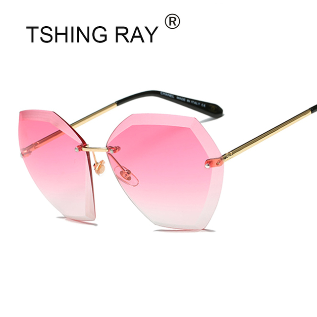 4b106b3f12 TSHING RAY 2017 New Women Oversized Cutting Rimless Sunglasses Fashion  Large Clear Lens Sun Glasses For