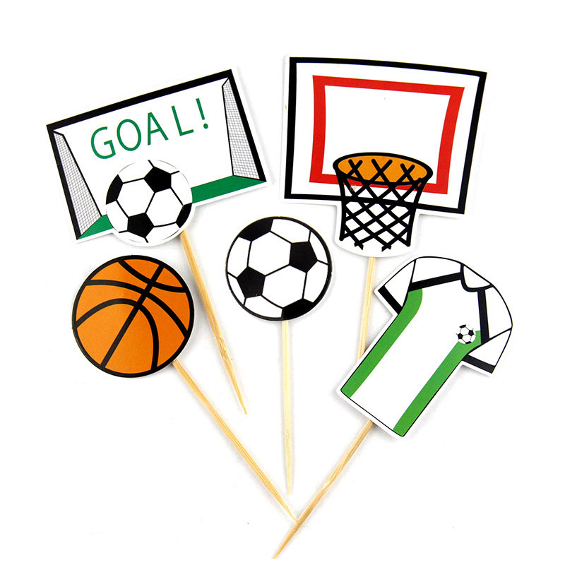 Cake Topper Flags Football basketball Soccer Cupcake Toppers Bride Kids Happy Birthday Wedding Cake Wrapper Party Baking DIY