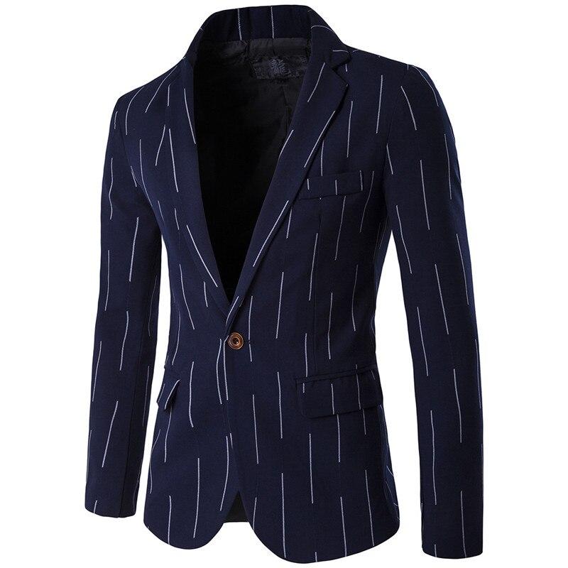 Для мужчин blazer моды случайные линии узор узкие в британском стиле пиджак/2019 Весна и осень высокого качества M-5XL костюм пальто