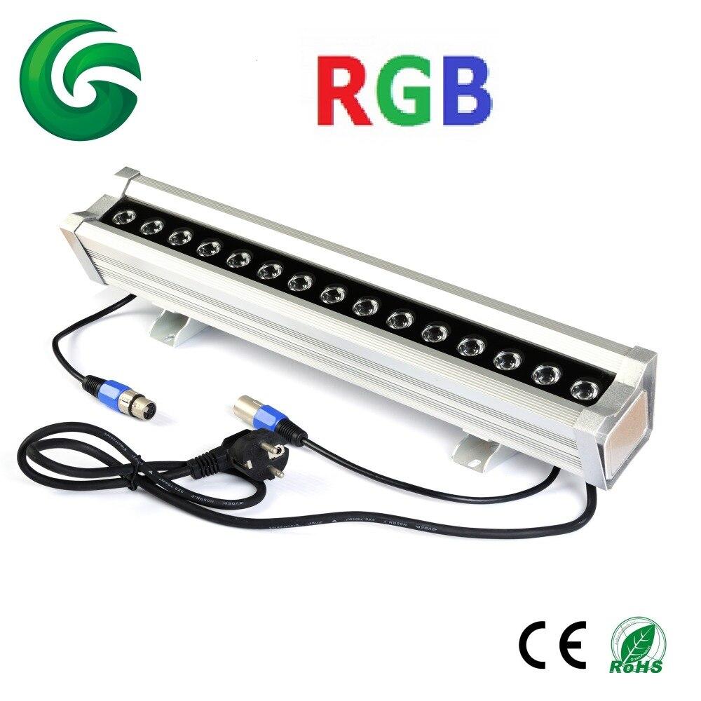 50cm DMX RGB 3in1 15x3W led wall washer bar light IP65 internal DMX controlled 100-240V AC 24v 100 cm linear bar 60w rgb led wall washer light fcc saa ce