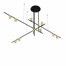 Minimalist Kitchen Island Pendant light Black Brass Color Lampshade Geometric Line Chandelier Lighting Fixture with Led Bulbs