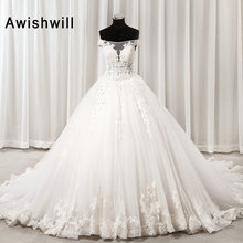 Glamorous Ball Gown Wedding Dress Off The Shoulder Beaded Appliques Tulle  Lace Up Bride Wedding Gown 5626f78869f7