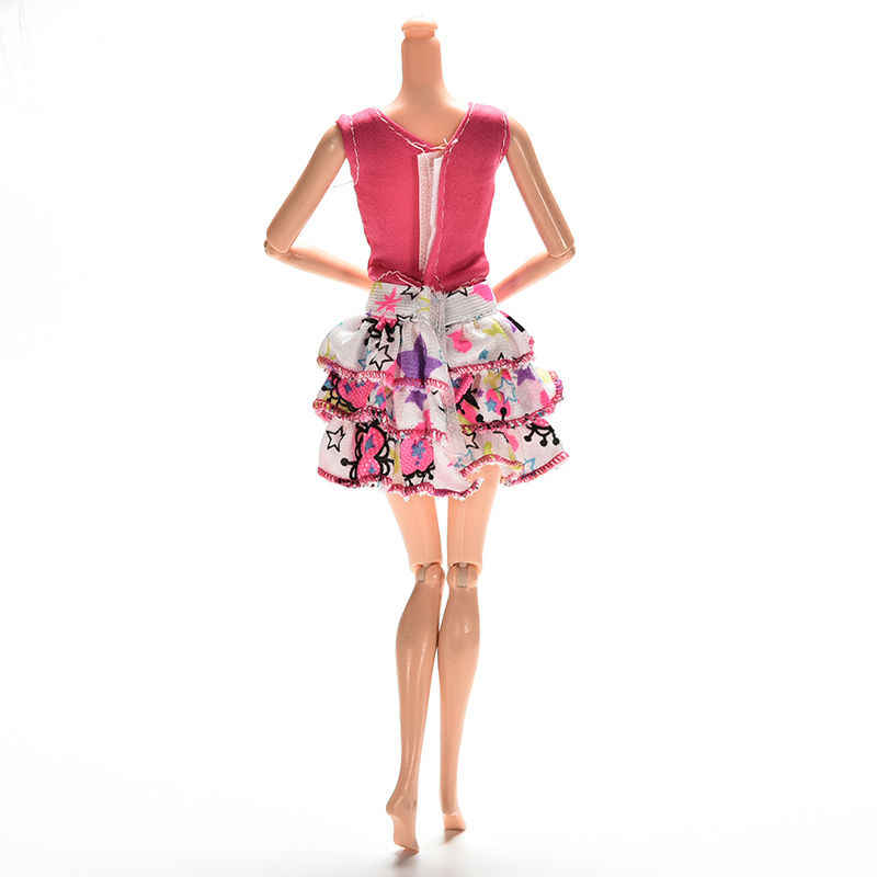2 ピース/セット漫画手紙ストリップ印刷半袖 Tシャツスカート女の子ためのスーツの服 25-30 センチ新生児人形