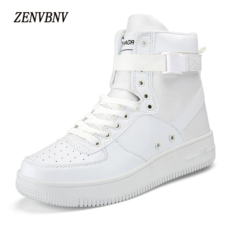 ZENVBNV New Air Force One Fashion Lace Up Hook Loop Leather High Heel Retro Shoes Men Flat Shoes High Quality Men Casual Shoes