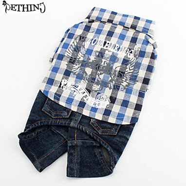 Fashion dog jeans sets checked shirts dog boy clothes summer spring small dog summer clothes cotton fabric comfortable wear