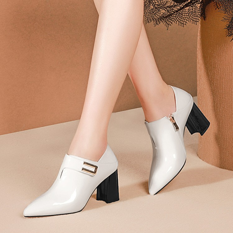 MLJUESE 2019 women pumps autumn spring Cow leather Metal decoration blue color pointed toe high heels lady shoes party 34-42