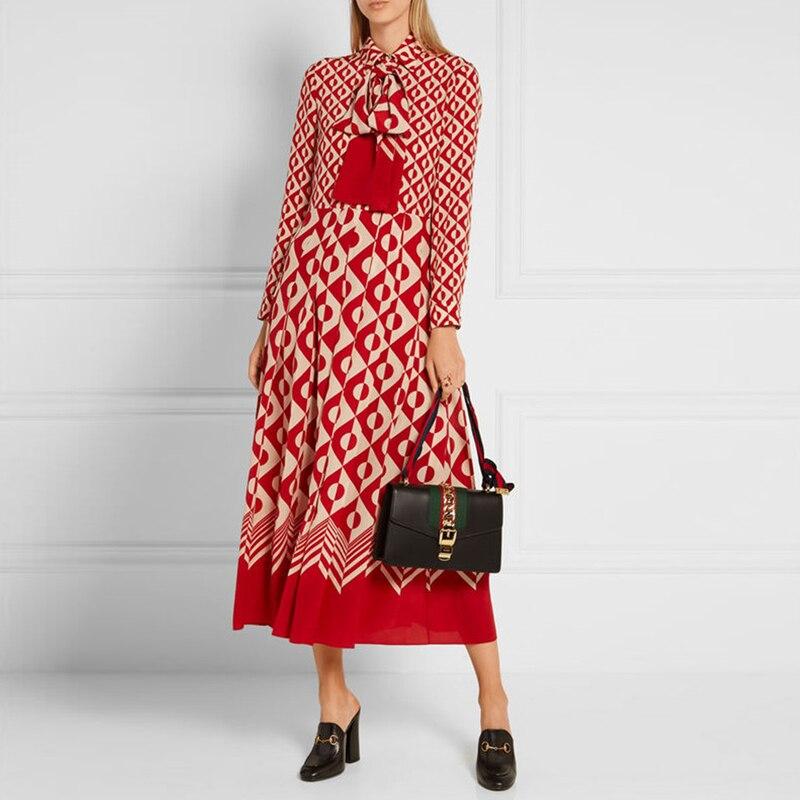 Top Fashion Women HIGH QUALITY 2017 Summer Long Sleeve Turn-down Collar Geometric Printed Plus Size 5XL Cute Long Dress Vestido high collar long sleeve printed dress